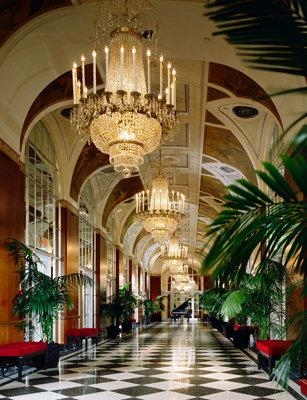 The ornate Silver Corridor in the Waldorf=Astoria is located on the third floor of the hotel, and connects many of the hotel's meeting areas.