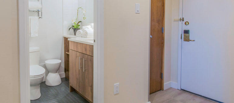 The International in Calgary: A bathroom at The International, apartments for rent in Calgary
