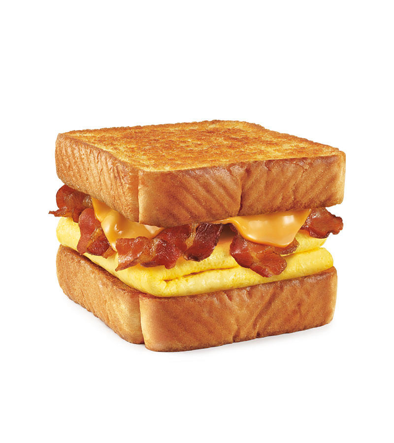 Melty cheese, your choice of savory sausage, crispy bacon or delicious ham, all stacked up on thick Texas Toast and served with fluffy eggs.