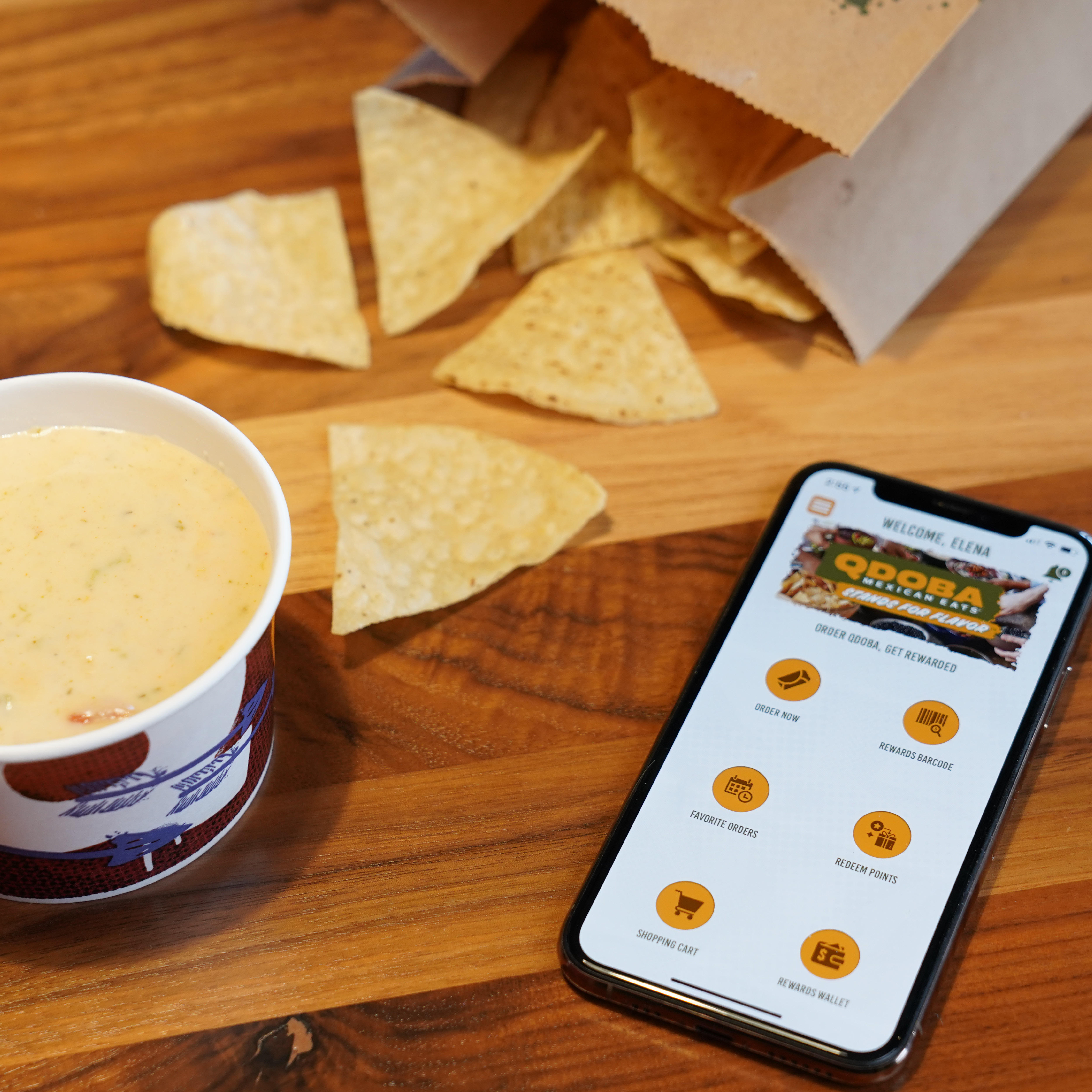 Earn points, score rewards, and place your order on the QDOBA Rewards app.