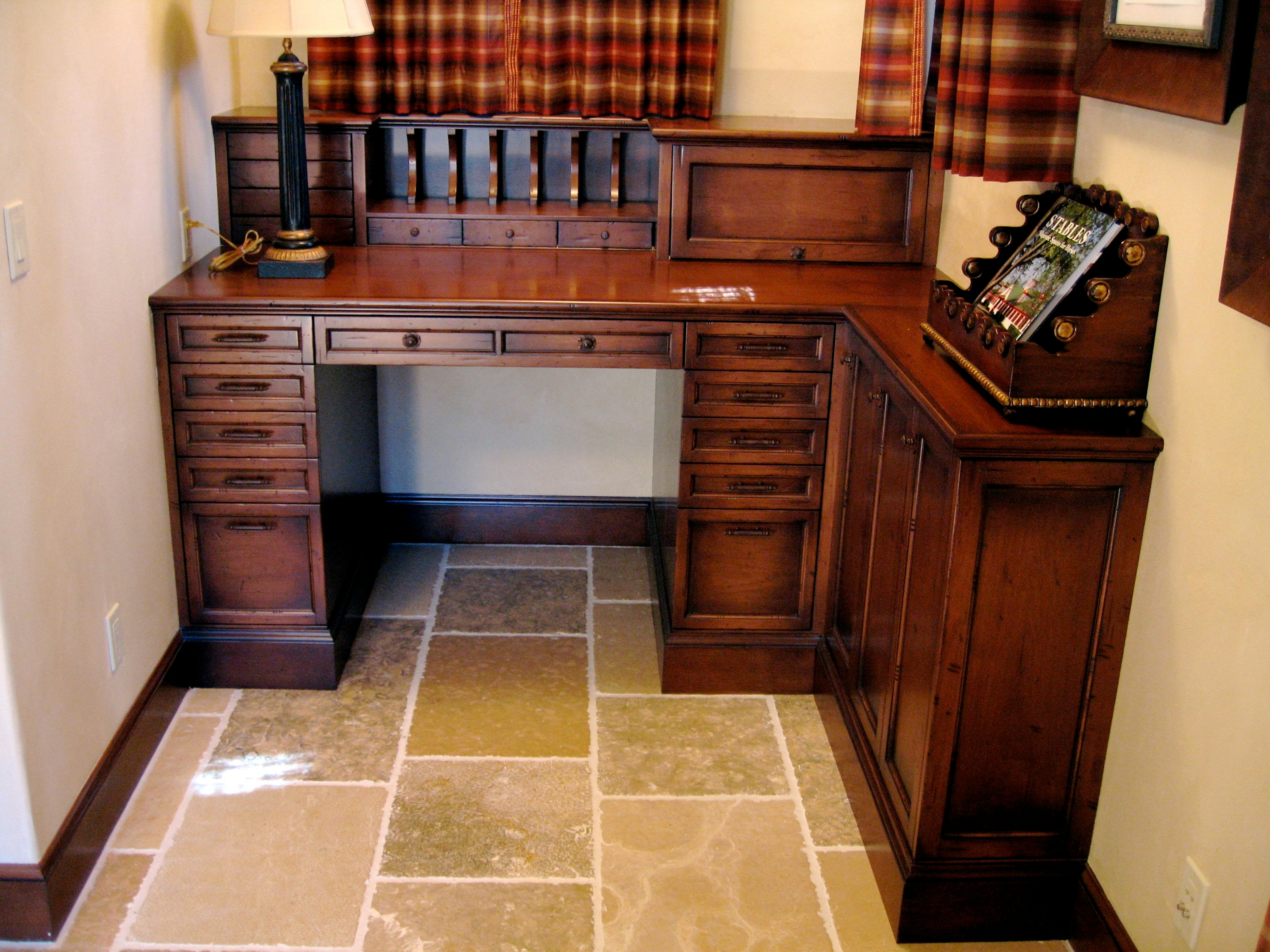 Custom built in bureau in distressed Alder, handcrafted by Philip Snyder of PS Woodworking offers function and elegance to an office.