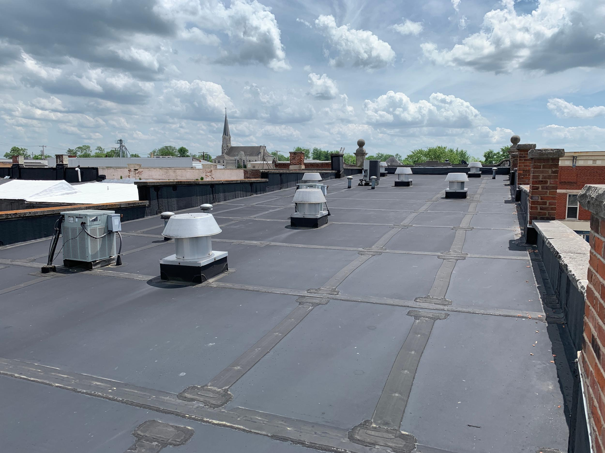 We do commercial flat roof repair.