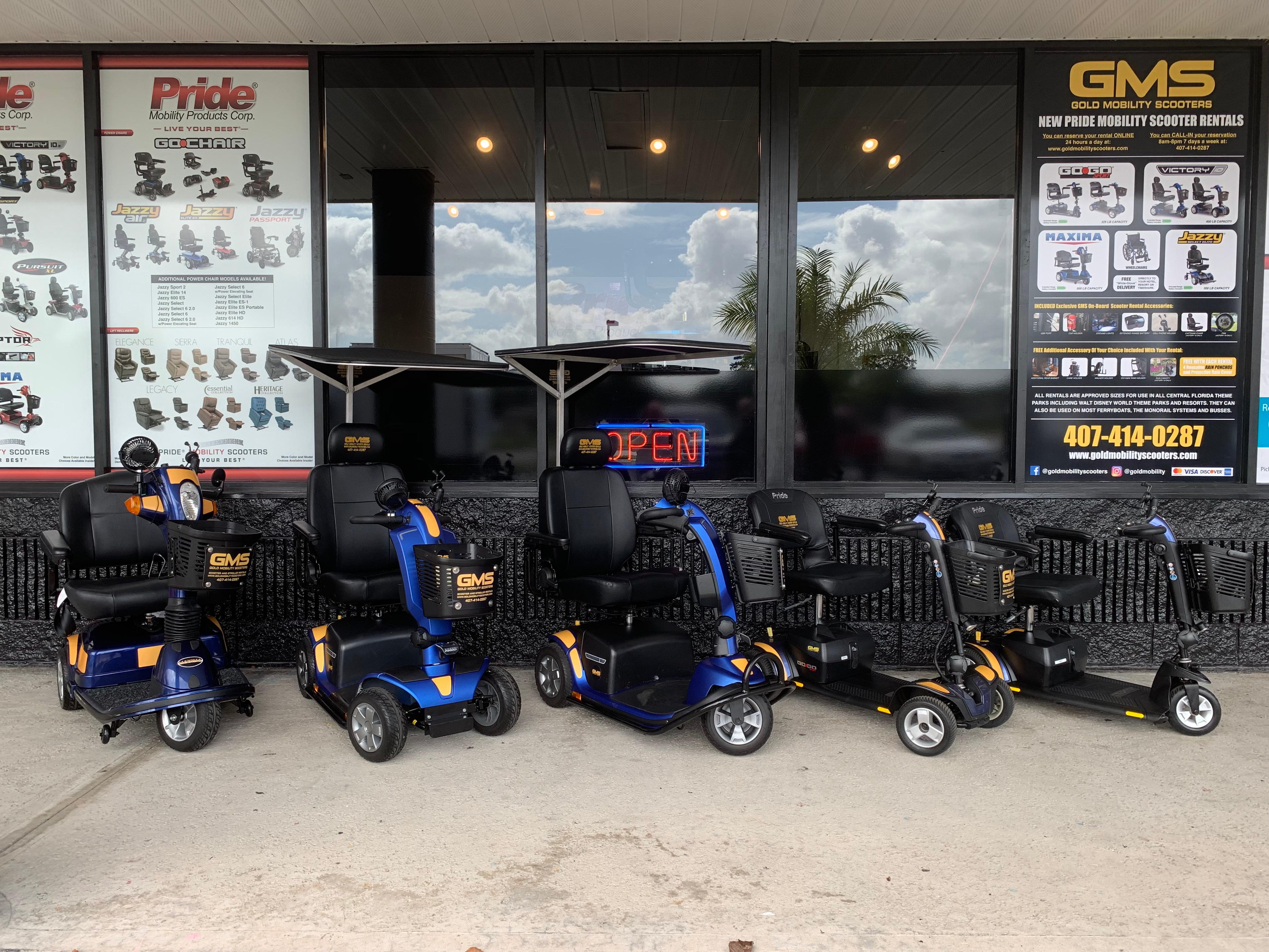 Gold Mobility Scooters provides mobility scooter rental for Orlando area and Theme Park guests. We offer free delivery to most all hotels and Resorts in the Central Florida area. Best apples for apples rental prices, premium brand new mobility scooters for rent, Free Delivery and Pickup, Free Damage Waver, Free Accessories, and Custom upgrades. 5 star rated scooter rental company. Scooter Rental info at goldmobilityscooters.com or Call us at 407-414-0287