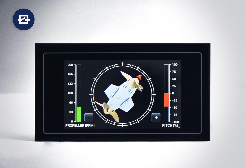 """5"""" HMI-Panel als digitales Anzeigemodul in der Schifffahrt, ersetzt bis zu 3 analoge Anzeigen."""