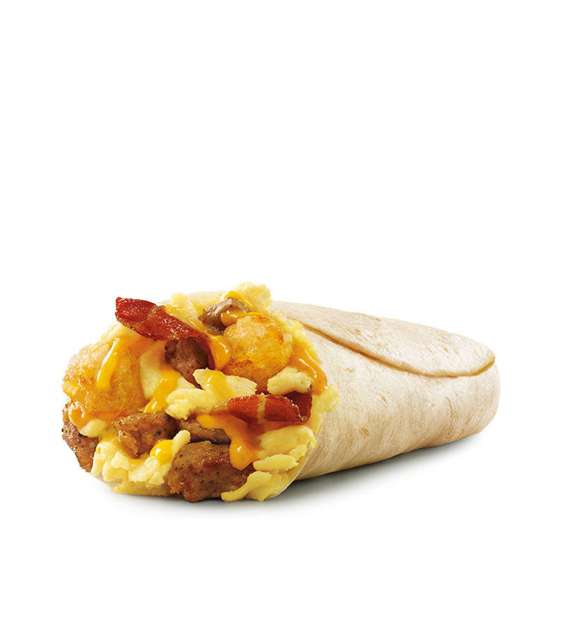 Crispy bacon, savory sausage, golden tots, fluffy scrambled eggs and melty cheddar cheese, all wrapped in a warm flour tortilla makes SONIC's Ultimate Meat & Cheese Breakfast Burrito™ an instant favorite.