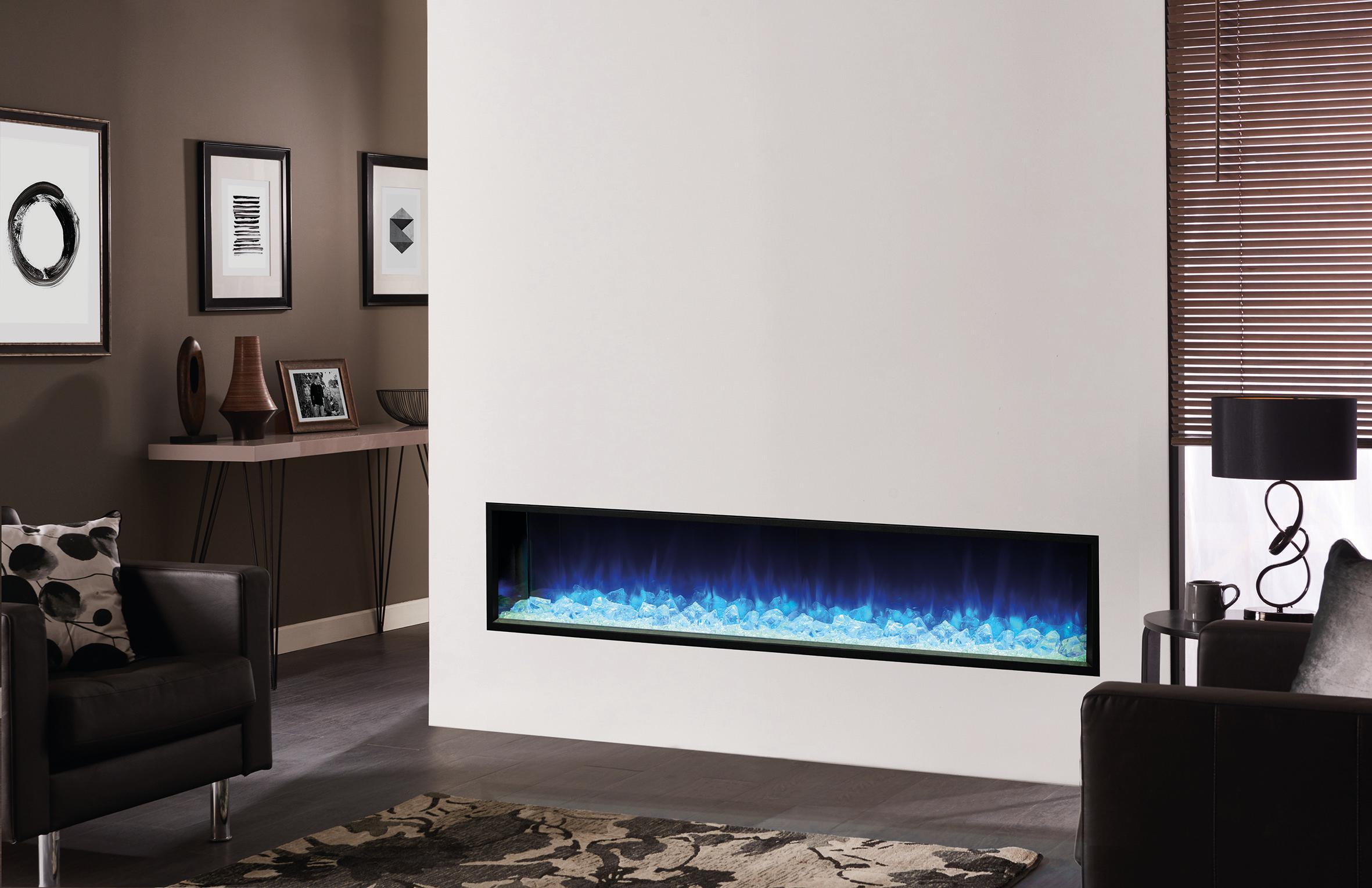 """Fireplace Gallery in Edmonton: Skope E195 77"""" Electric Fireplace - Built In with Blue Light Display"""
