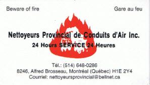 Nettoyeurs Provincial De Conduits D'Air Inc à Montréal