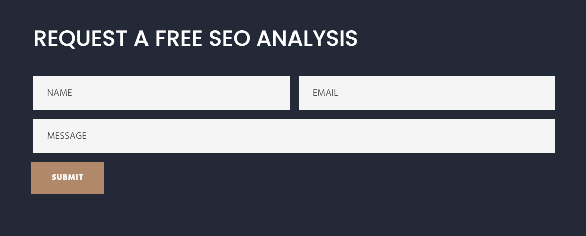 Receive a free website analysis by filling out the form on our website.
