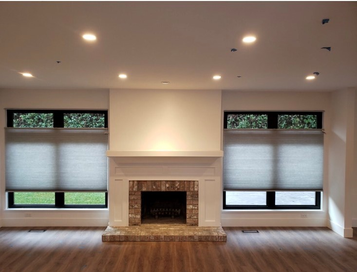 Budget Blinds of Delta, South Surrey and White Rock in Delta: Top Down Bottom Up Cellular Shades installed in Delta. These beautiful shades create a ton of privacy options while keeping the look sleek and modern