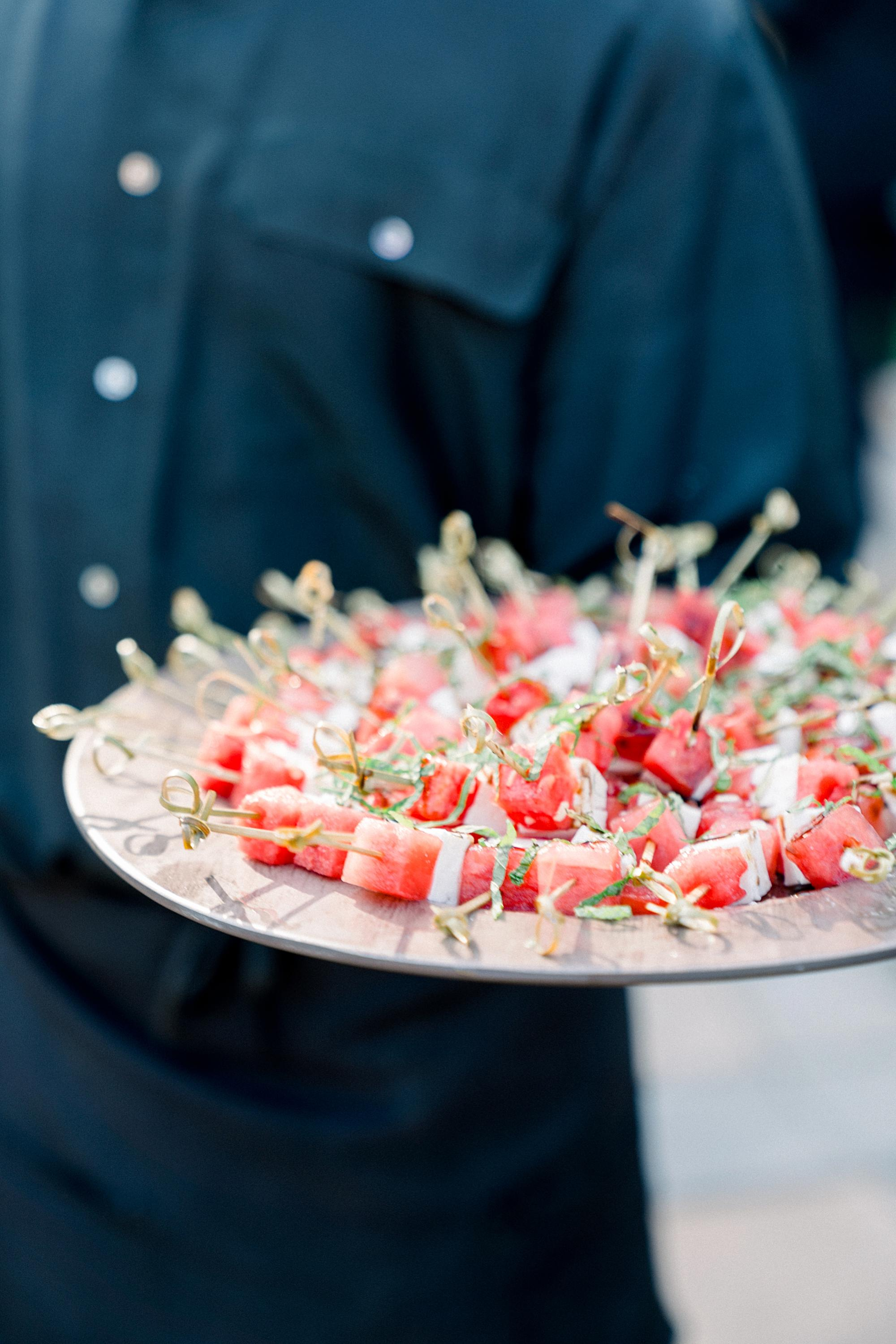 Watermelon Feta Kabobs with Balsamic Glaze and Mint