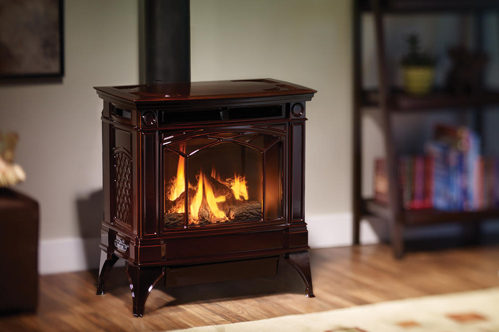 Fireplace Gallery in Edmonton: Hampton Large Cast Iron Gas Stove - H35 - Brown