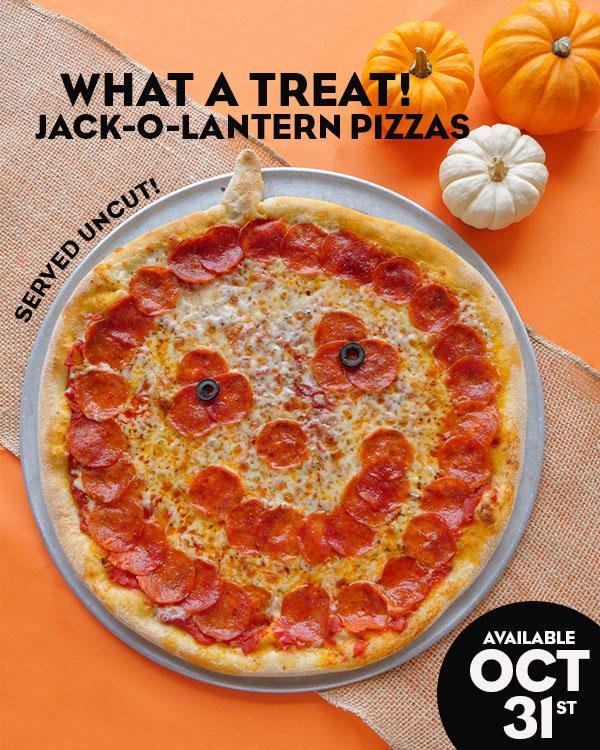 Jack-O'-Lantern Pizzas available 10/31/2020