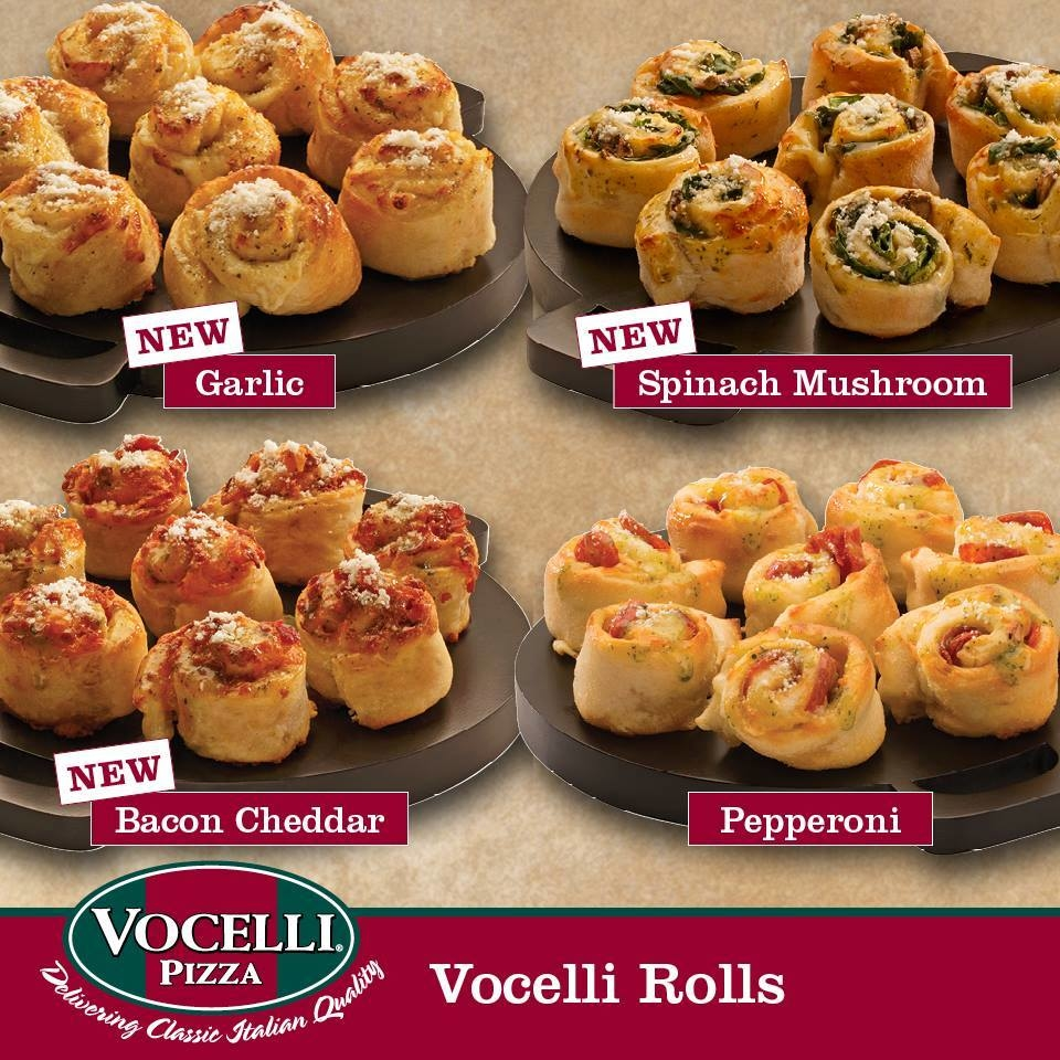 Pepperoni roll, Spinach and Mushroom roll, Bacon and Cheddar roll and Garlic Cheese roll. Served with marinara sauce.