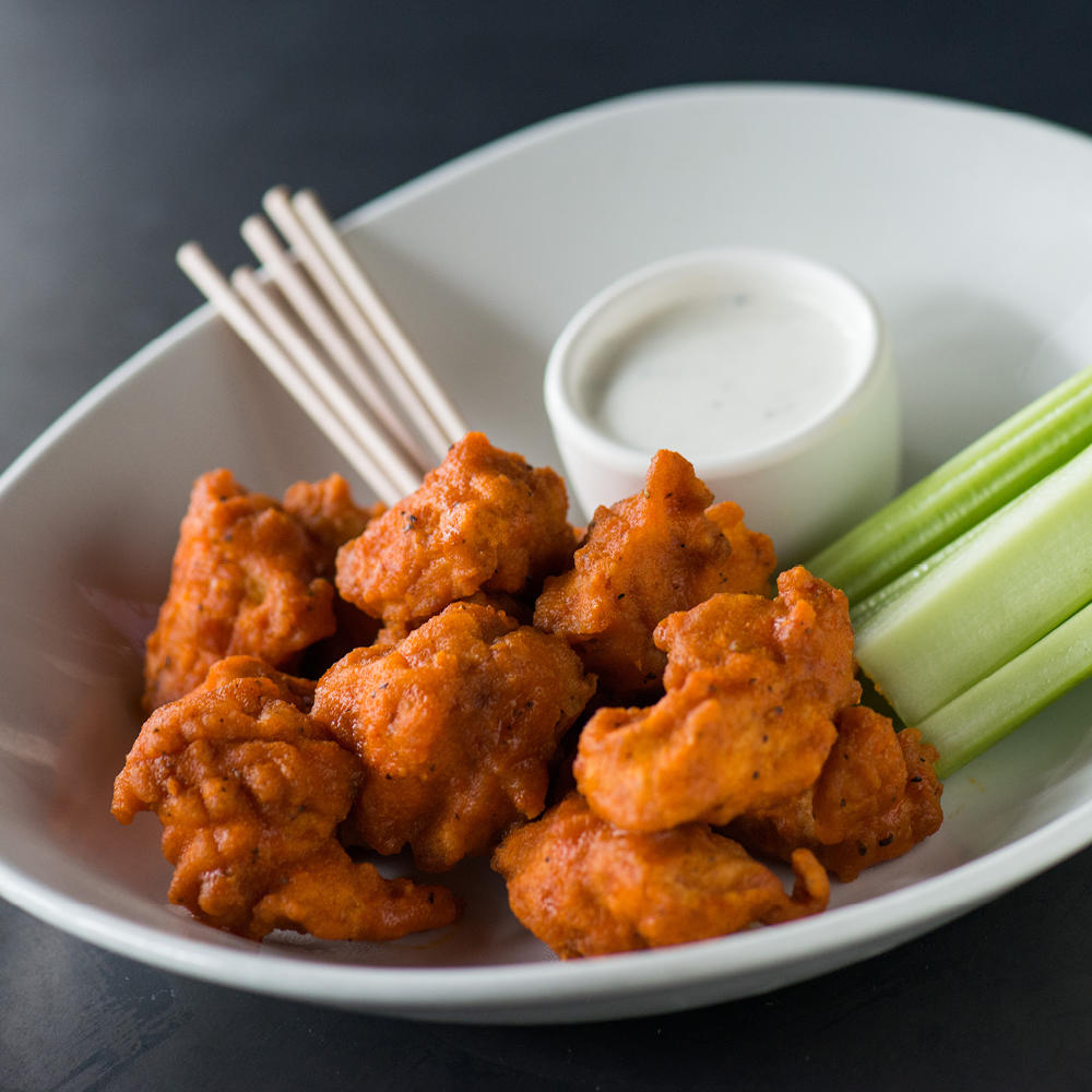 Try our Boneless Wings in five different flavors – buffalo, Korean chili garlic, BBQ, whiskey black pepper and lemon pepper dry rub.