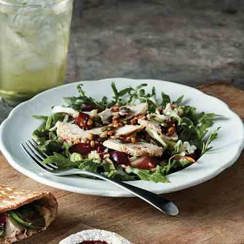 Try our returning favorite, Ancient Grain & Arugula Salad with Chicken.