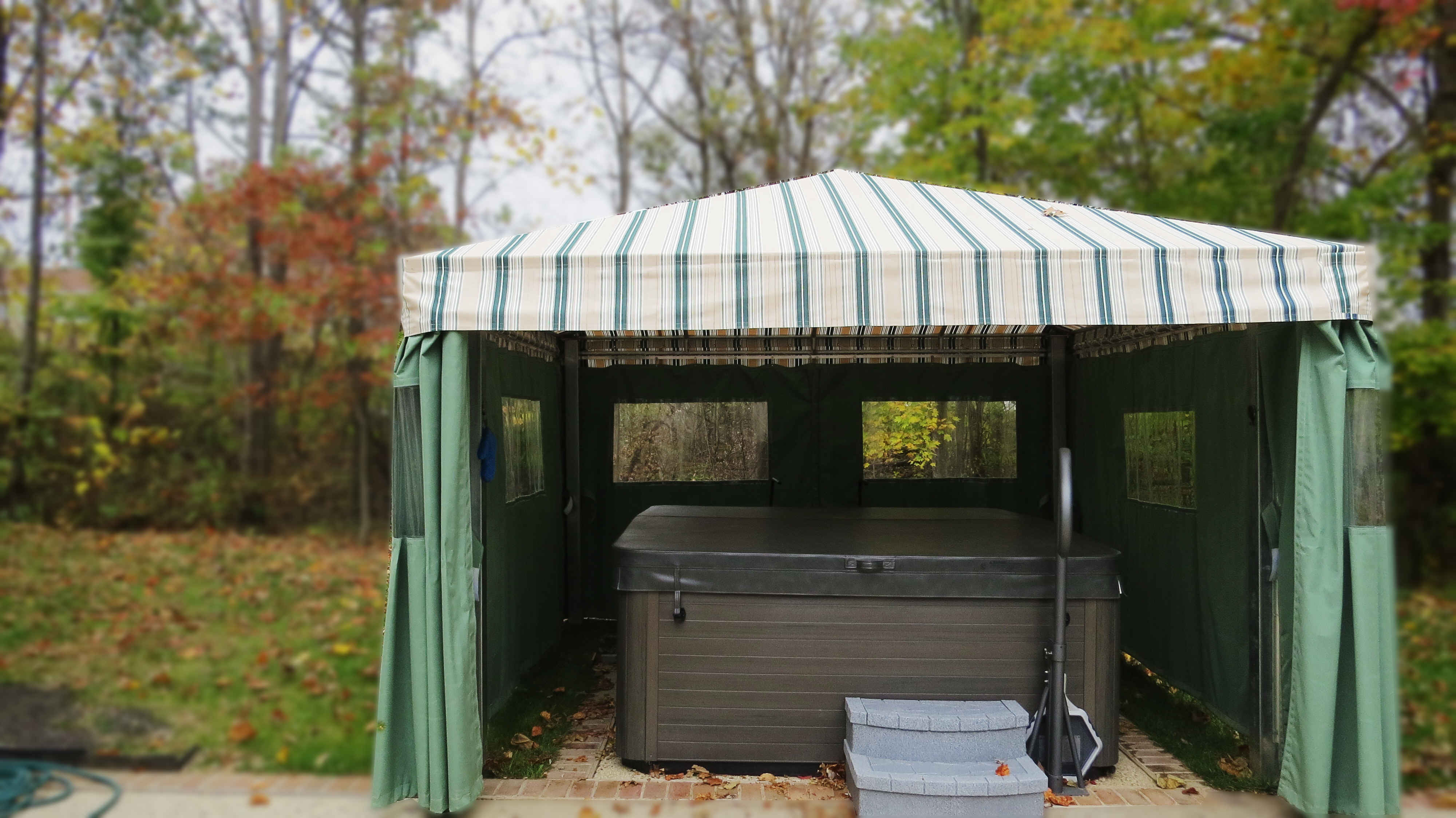 Call A Hoffman Awning in Baltimore     410-685-5687 http://ahoffmanawning.com/retractable-awnings/Graphics Hot Tub Awning with Privacy Curtains