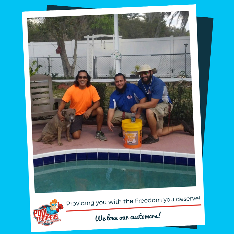 Pool Troopers Service Technicians with Customer