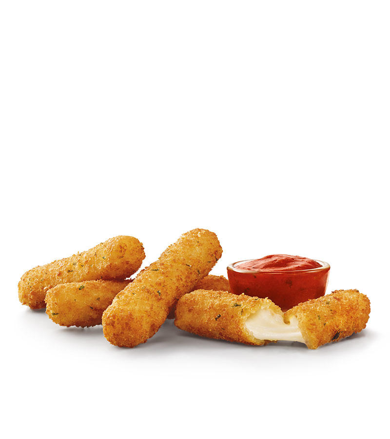 Crispy on the outside, gooey on the inside. Melty, real mozzarella cheese, breaded and fried to perfection. Dunking in a side dipping cup of creamy marinara sauce is a must