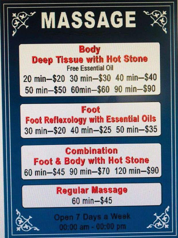 Massage techniques are commonly applied with hands, fingers,  elbows, knees, forearms, feet, or a device.  The purpose of massage is generally for the treatment of  body stress or pain.  Deep Tissue With Hot Stone  $20/20min || $30/30min|| $40/40min  $50/50min || $60/60min|| $90/90min  Foot Massage   $20/30min || $25/40min|| $90/120min   Foot Massage  With Hot Stone  $45/60min || $70/90min|| $35/50min  Regulay Massage  $45/60min