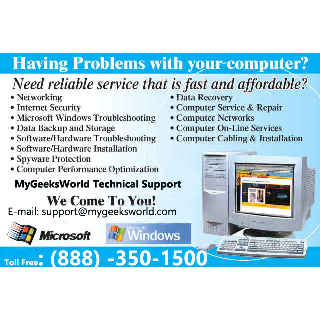 MyGeeksWorld Technical Support 24/7 Toll Free +1-888-350-1500