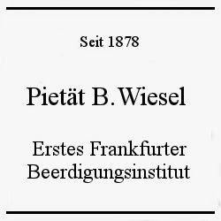 Bild zu 1.Frankfurter Beerdigungsinstitut Pietät B.Wiesel GmbH in Frankfurt am Main