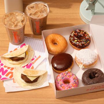 Dunkin' Iced Lattes, Beyond Sausage Wake Up Wrap Sandwiches and Half a Dozen Donuts