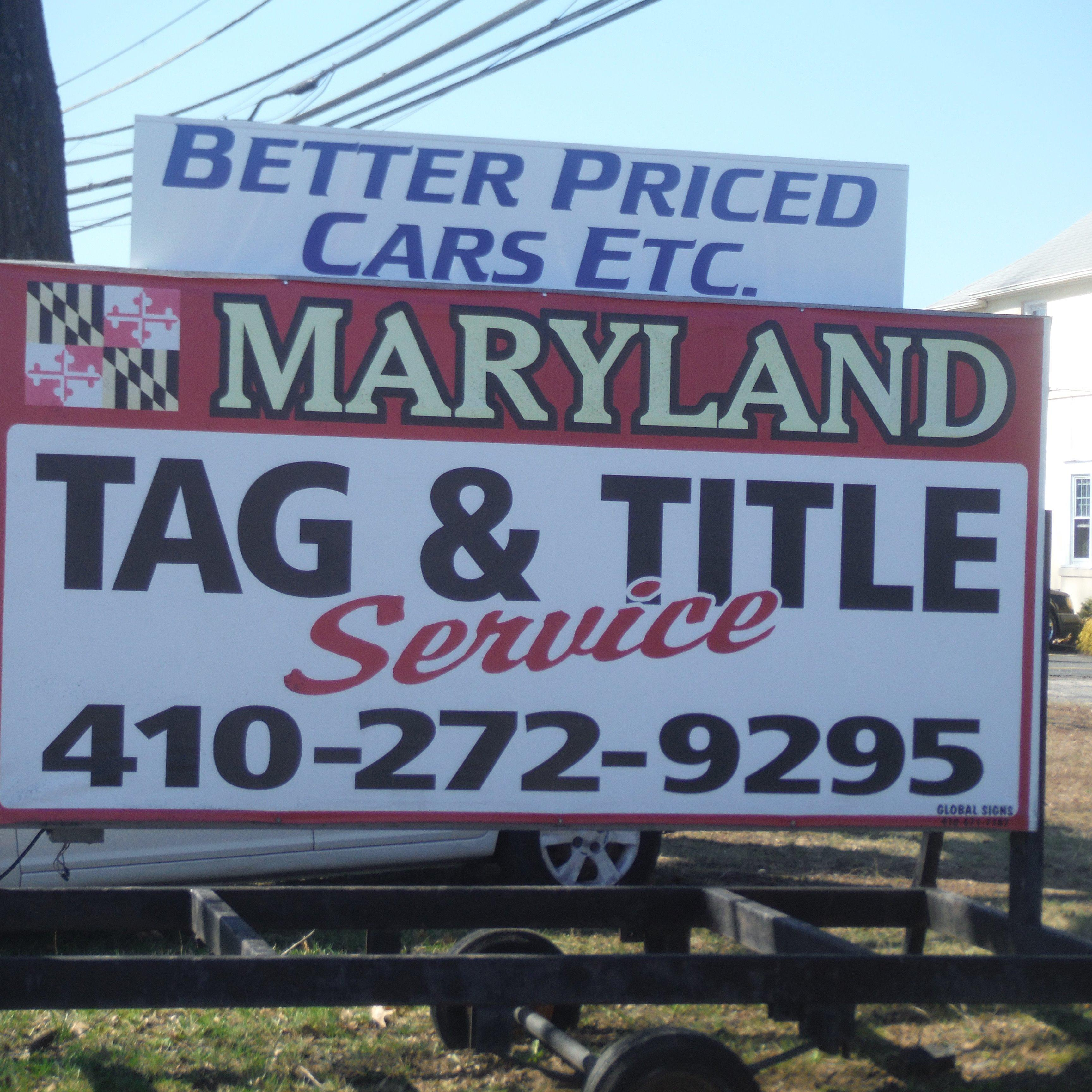 Maryland Tag & Title Services - Aberdeen, MD - Auto Dealers