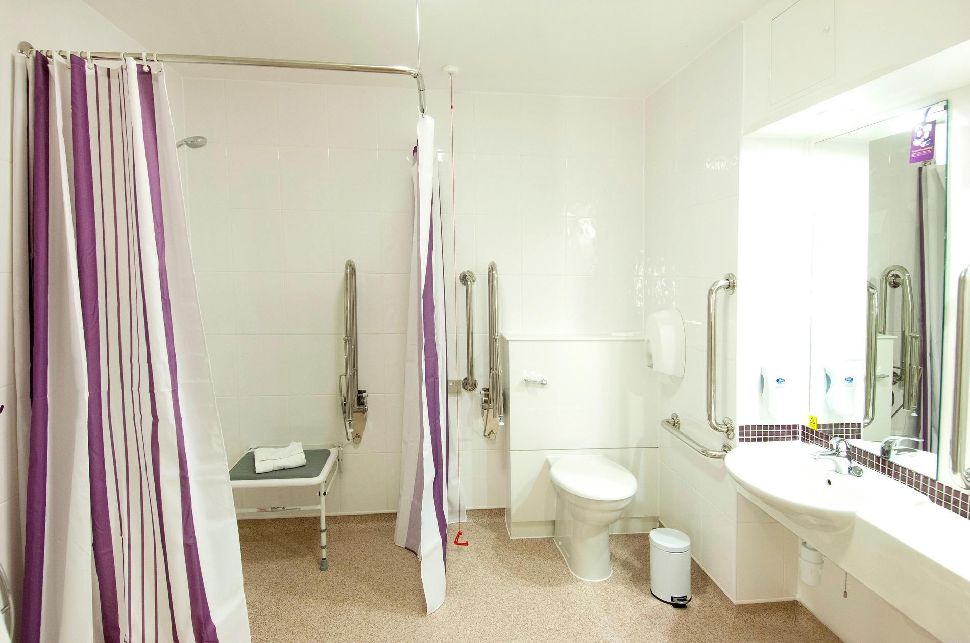 Premier Inn accessible bathroom/wetroom with walk-in shower