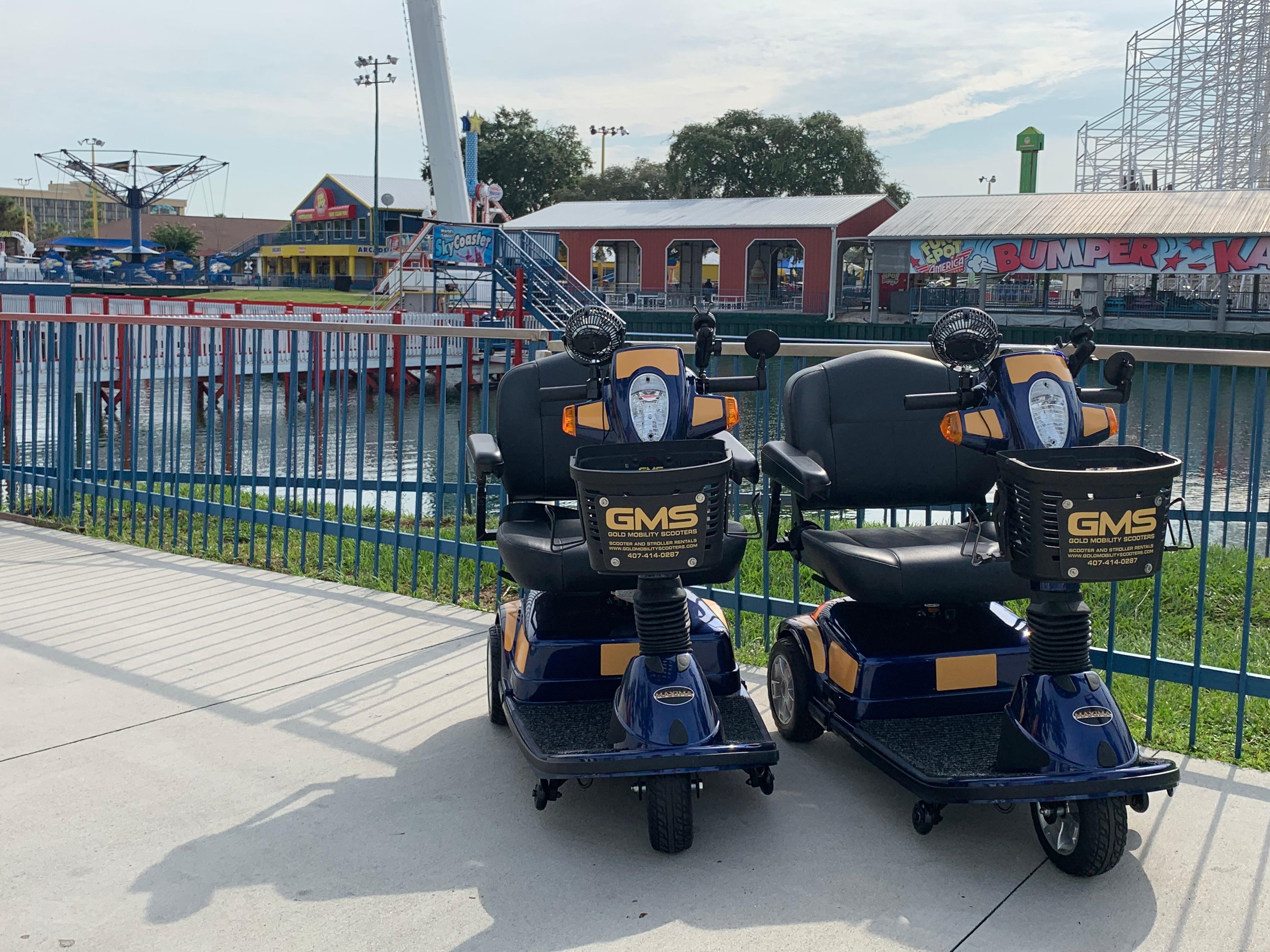 Theme Park approved scooter rentals Orlando by Gold Mobility Scooters. We sell and rent top of the line Pride Mobility Scooters in our rent a scooter line. Theme Parks and Orlando Florida Area scooter rentals. Best rental Prices, Premium brand new scooters for rent, Free Delivery and Pickup, Free Damage Waver, Free Accessories, and Custom upgrades. 5 star rated scooter rental company. Scooter Rental info at https://goldmobilityscooters.com or Call us at 407-414-0287