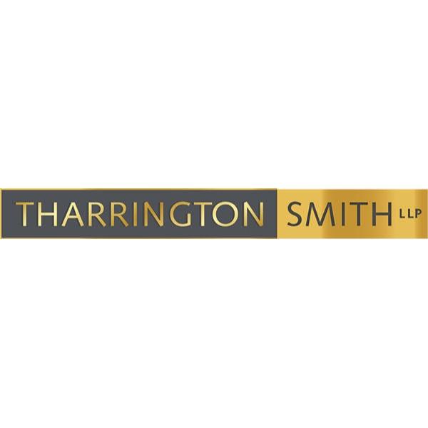 "Tharrington Smith LLP logo. ""Tharrington"" in gold lettering on a dark gray field, and ""Smith"" in dark gray lettering on a gold field. ""LLP"" in small gray letters on the gold field following ""Smith""."