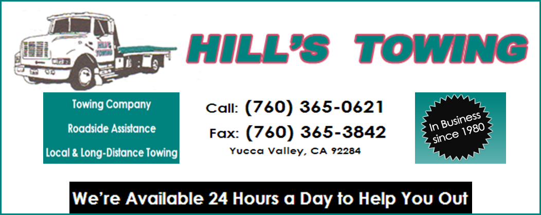 Hill 39 s towing yucca valley ca 92284 pennysaverusa for Cross country motor club towing
