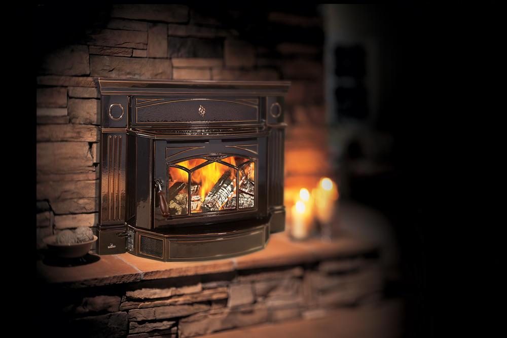Fireplace Gallery in Edmonton: Hampton Hi2450 Cast Iron Wood Burning Fireplace Insert - Black
