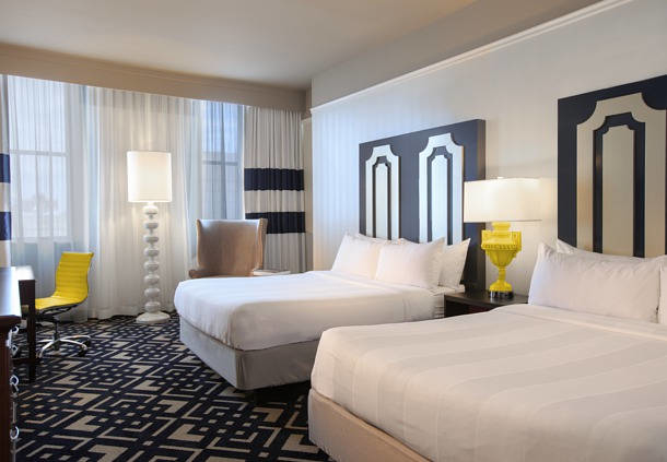 Our queen guest room features two queen size beds with thick mattresses and plush bedding.