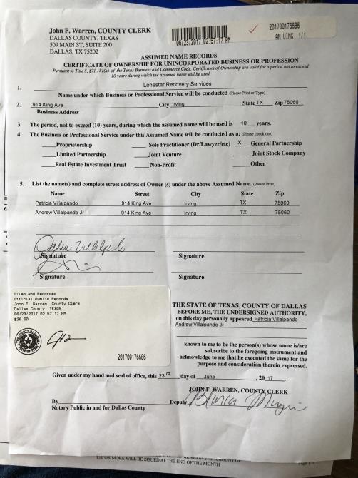 Assumed Name Certificate Dallas - Best Design Sertificate 2018