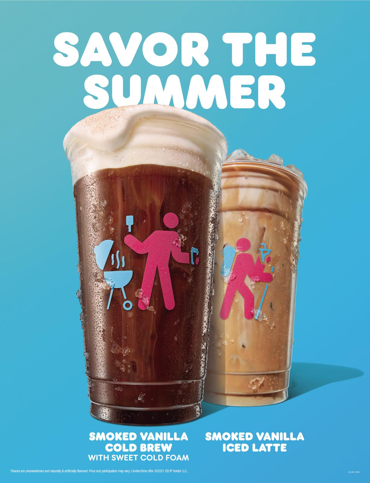 Dunkin' Smoked Vanilla Cold Brew with Sweet Cold Foam and Smoked Vanilla Iced Latte