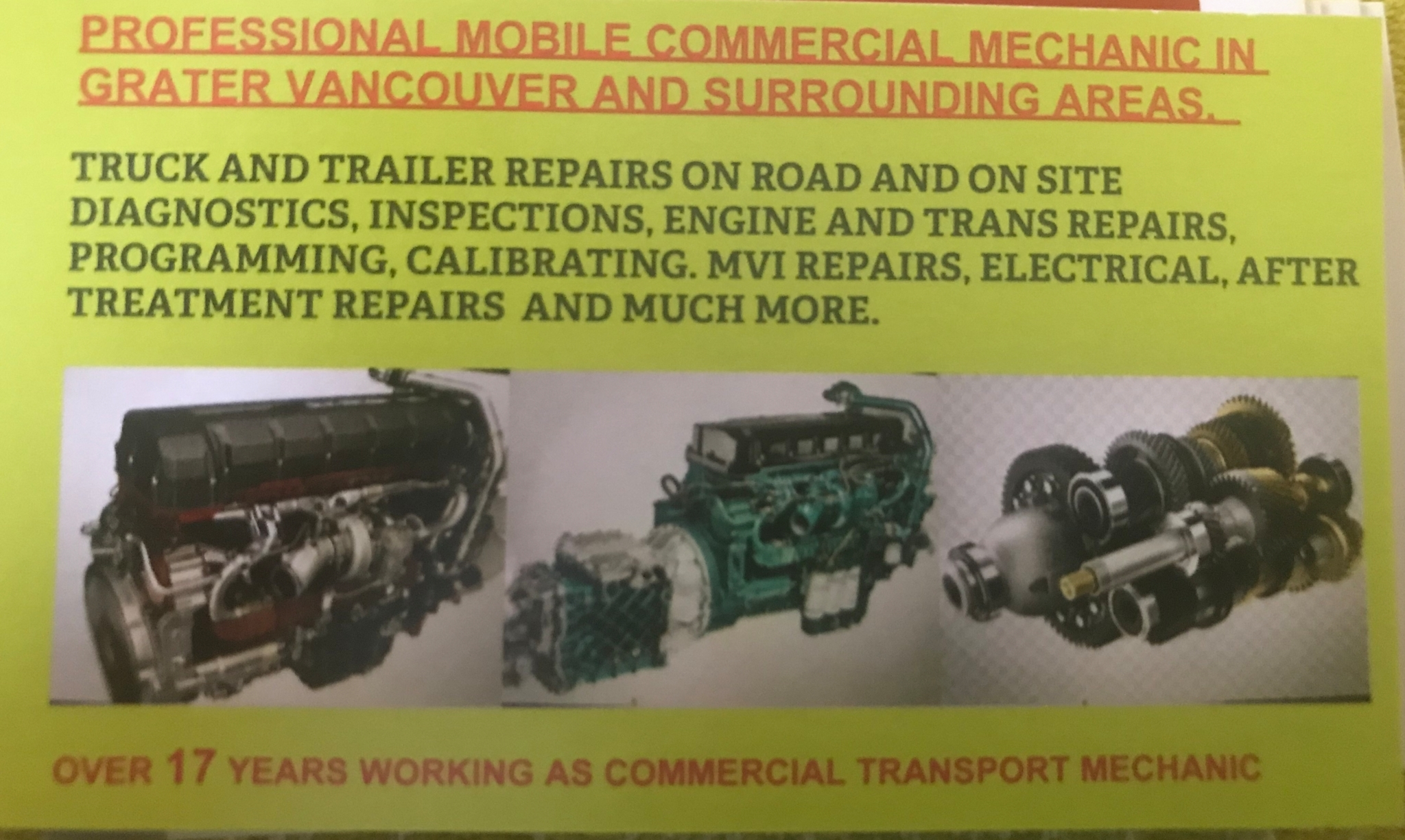 F&A Commercials Truck and Trailer Mobile Mechanic Surrey (604)724-4128