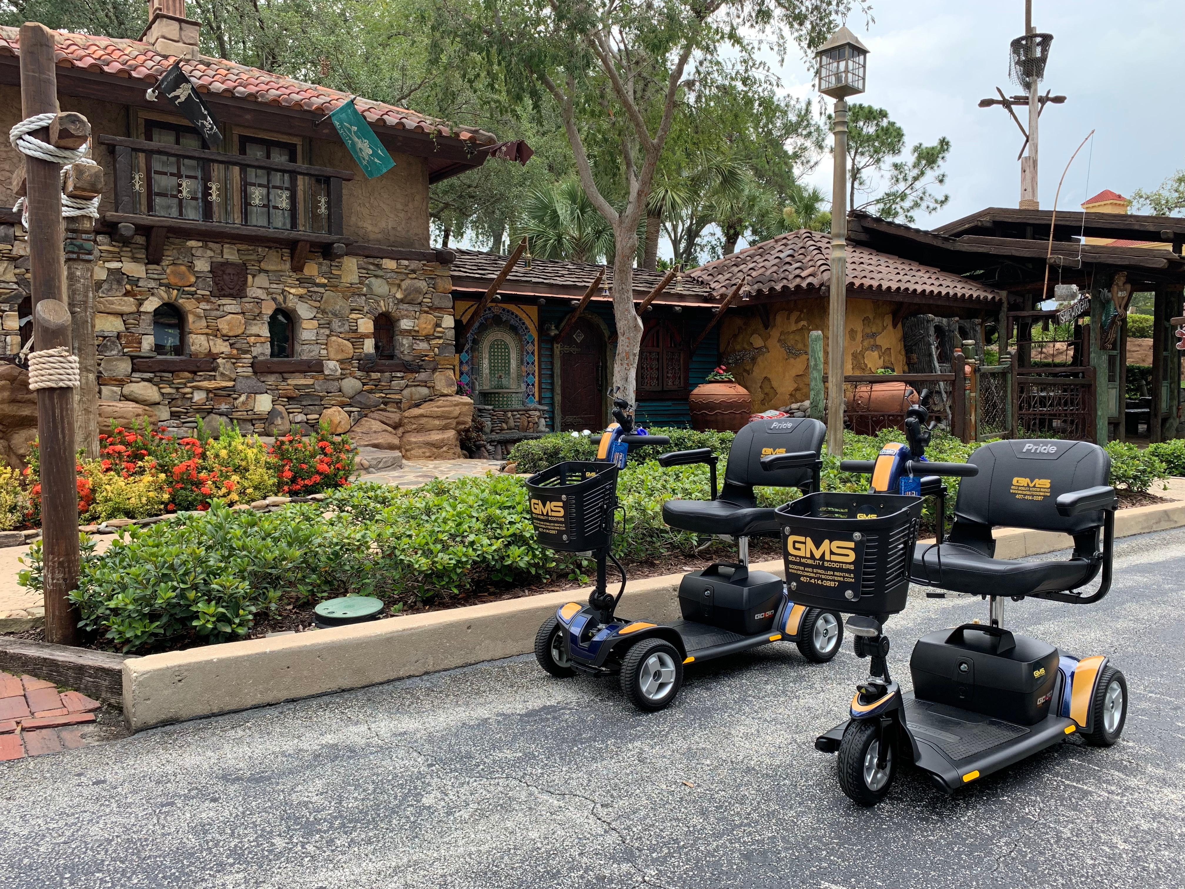 Mobility Scooter Hire by Gold Mobility Scooters. We sell and rent top of the line Pride Mobility Scooters in our rent a scooter line. Theme Parks and Orlando Florida Area scooter rentals. Best rental Prices, Premium brand new scooters for rent, Free Delivery and Pickup, Free Damage Waver, Free Accessories, and Custom upgrades. 5 star rated scooter rental company. Scooter Rental info at https://goldmobilityscooters.com or Call us at 407-414-0287