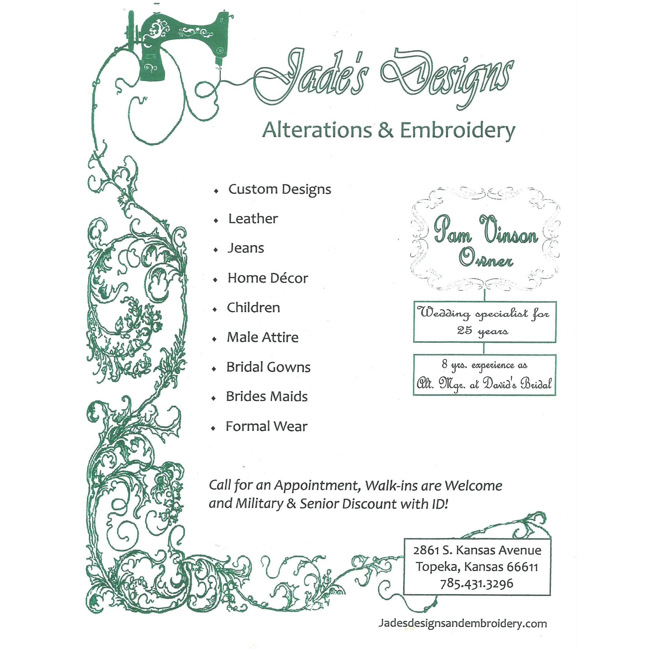 Jade's Designs Alterations & Embroidery LLC