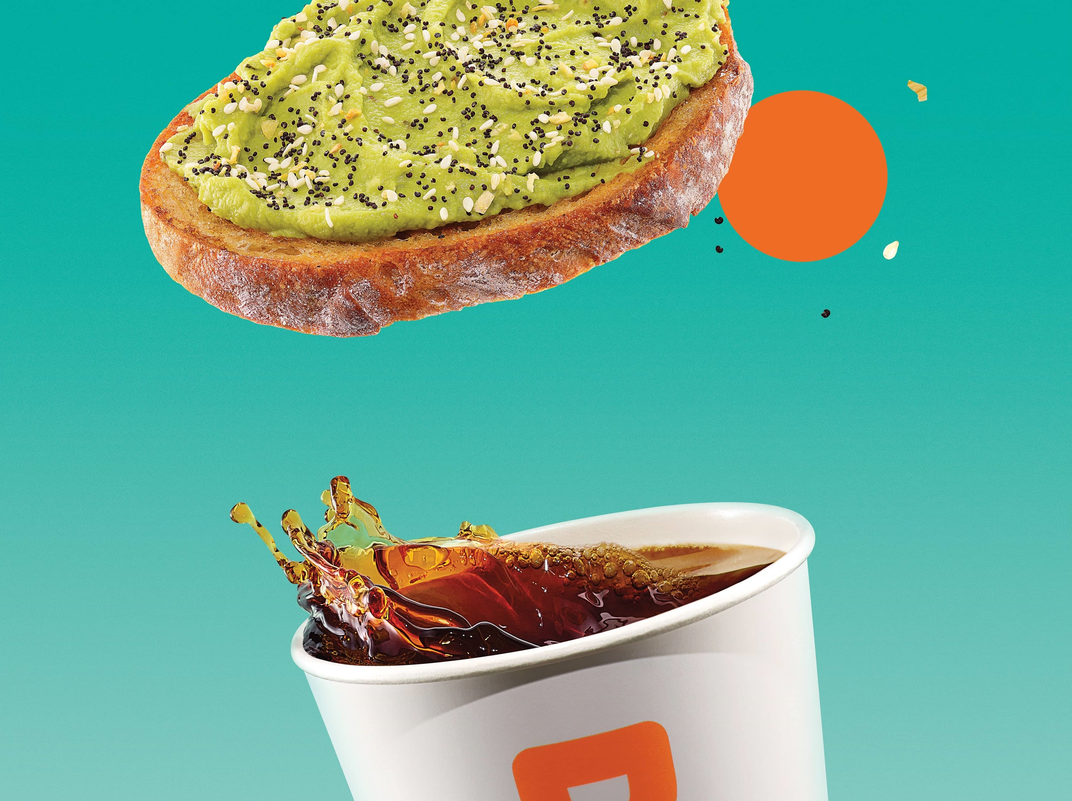 Dunkin' Avocado Toast and Coffee