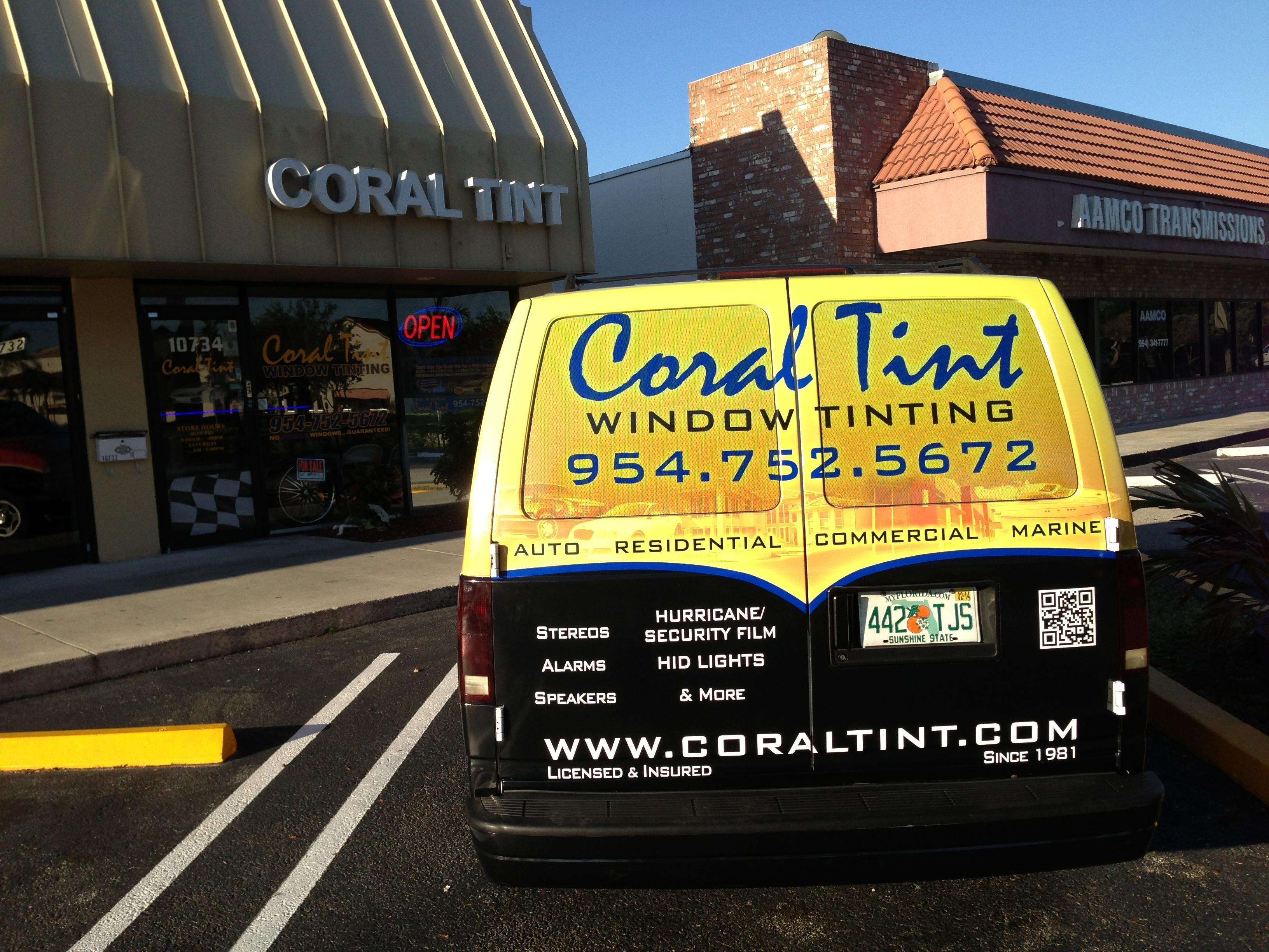Auto Window Tinting in FL CORAL SPRINGS 33076 CORAL TINT SOUND AND SECURITY INC. 10734 WILES ROAD  (954)752-5672