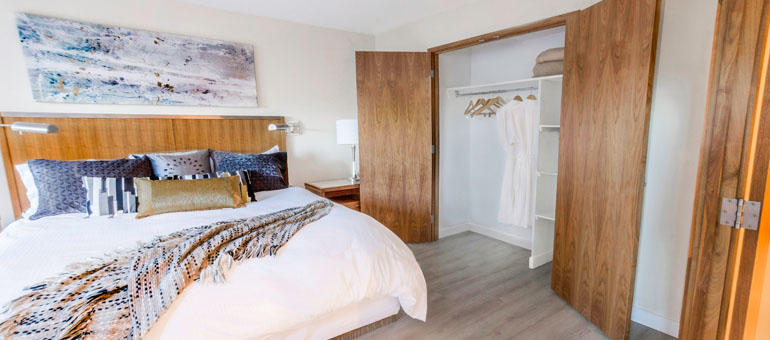The International in Calgary: A bedroom at The International, apartments for rent in Calgary