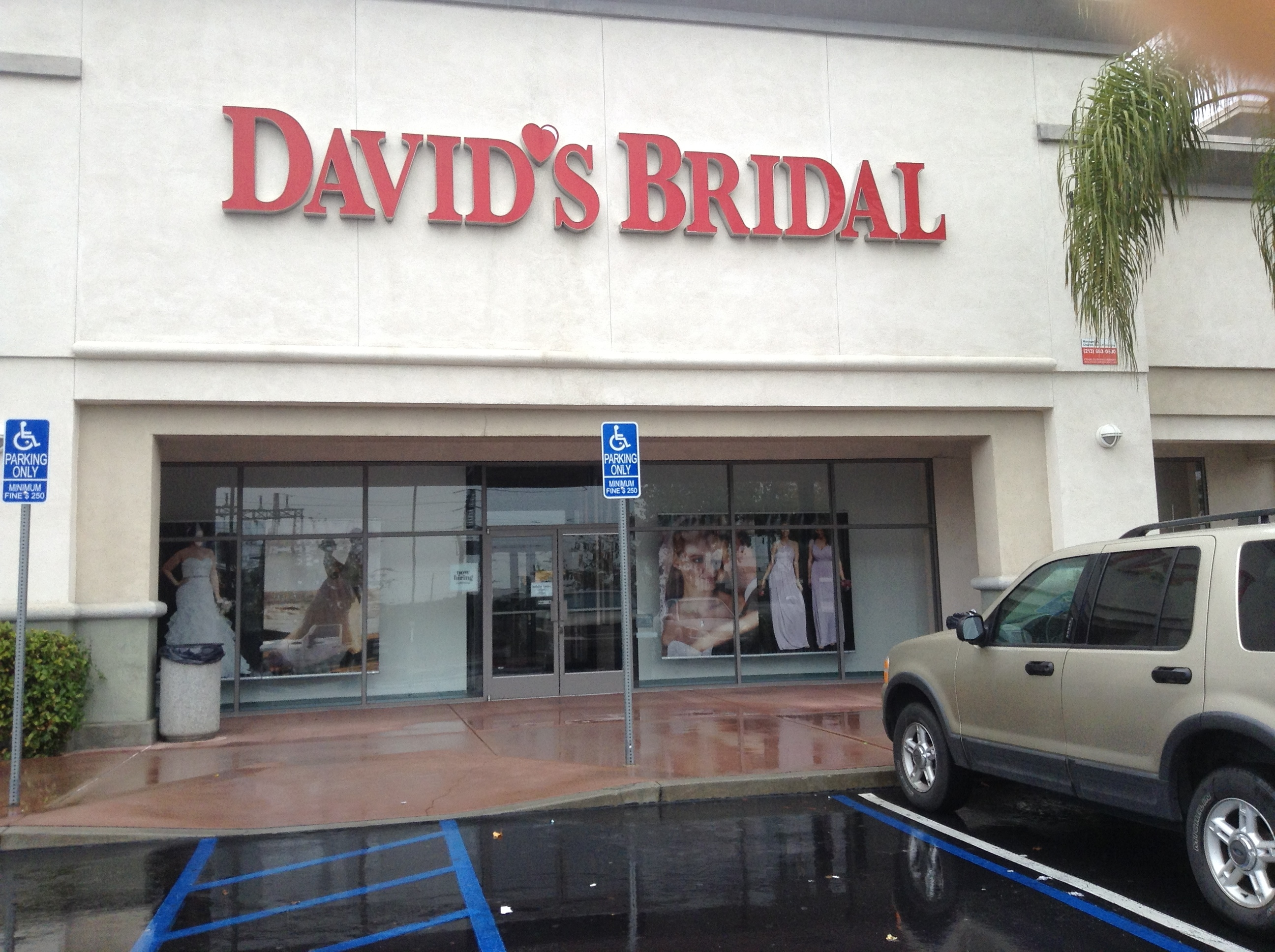 David's Bridal Regular Business Hours. Weekdays: The majority of the stores are open Monday through Friday 11am to 9pm, local time. Contact your local store for specific hours of operation. The store hours vary by location. Weekends: The store hours will vary by location. The majority of the stores are open Saturday 9am to 7pm and Sunday 11amto 7pm, local time.