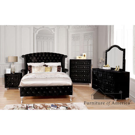 Comforting cushioned velvet-like fabric encompasses this chic bedroom set. Admire the glamorous wing-back headboard as glimmering acrylic button tufts and a framing nailhead trim dazzle your senses. Run your hands over the soothing case goods and easily stock essentials in their cavernous storage drawers. Cabriole feet add a well polished finished as they provide unwavering support to this elegant bedroom set.