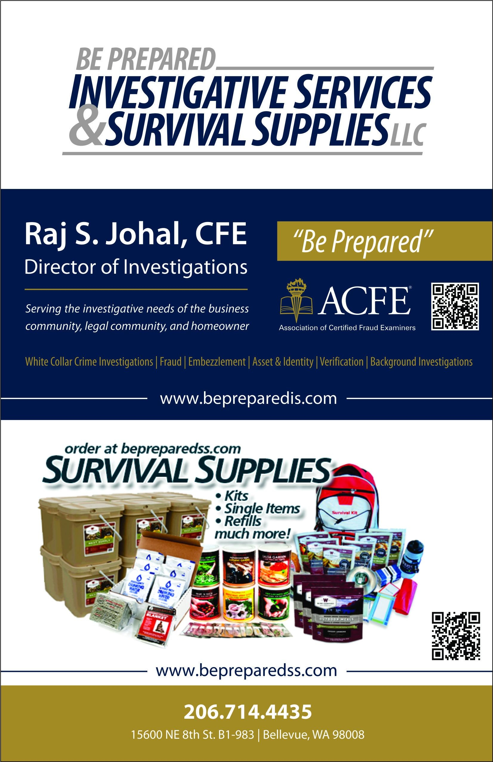 Be Prepared Investigative Services and Survival Supplies LLC