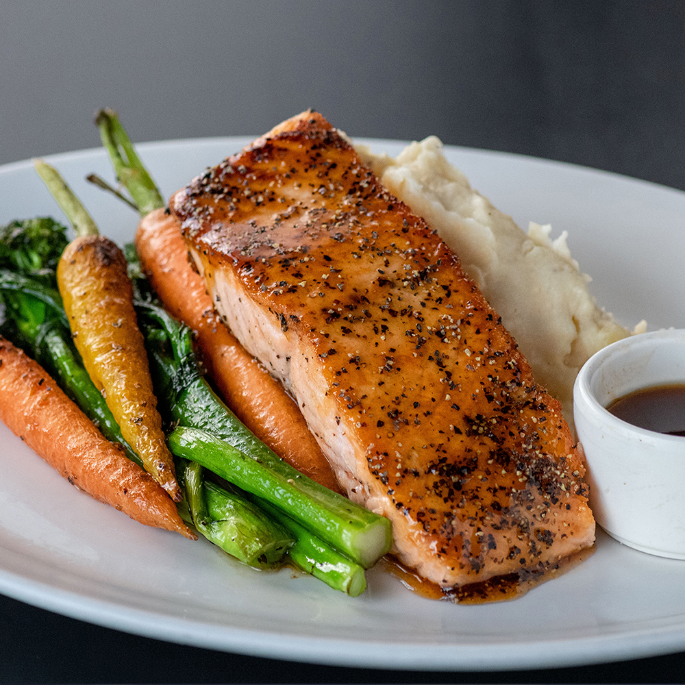 Yard House offers a variety of seafood options from Porcini Crusted Halibut to Whiskey Glazed Salmon.