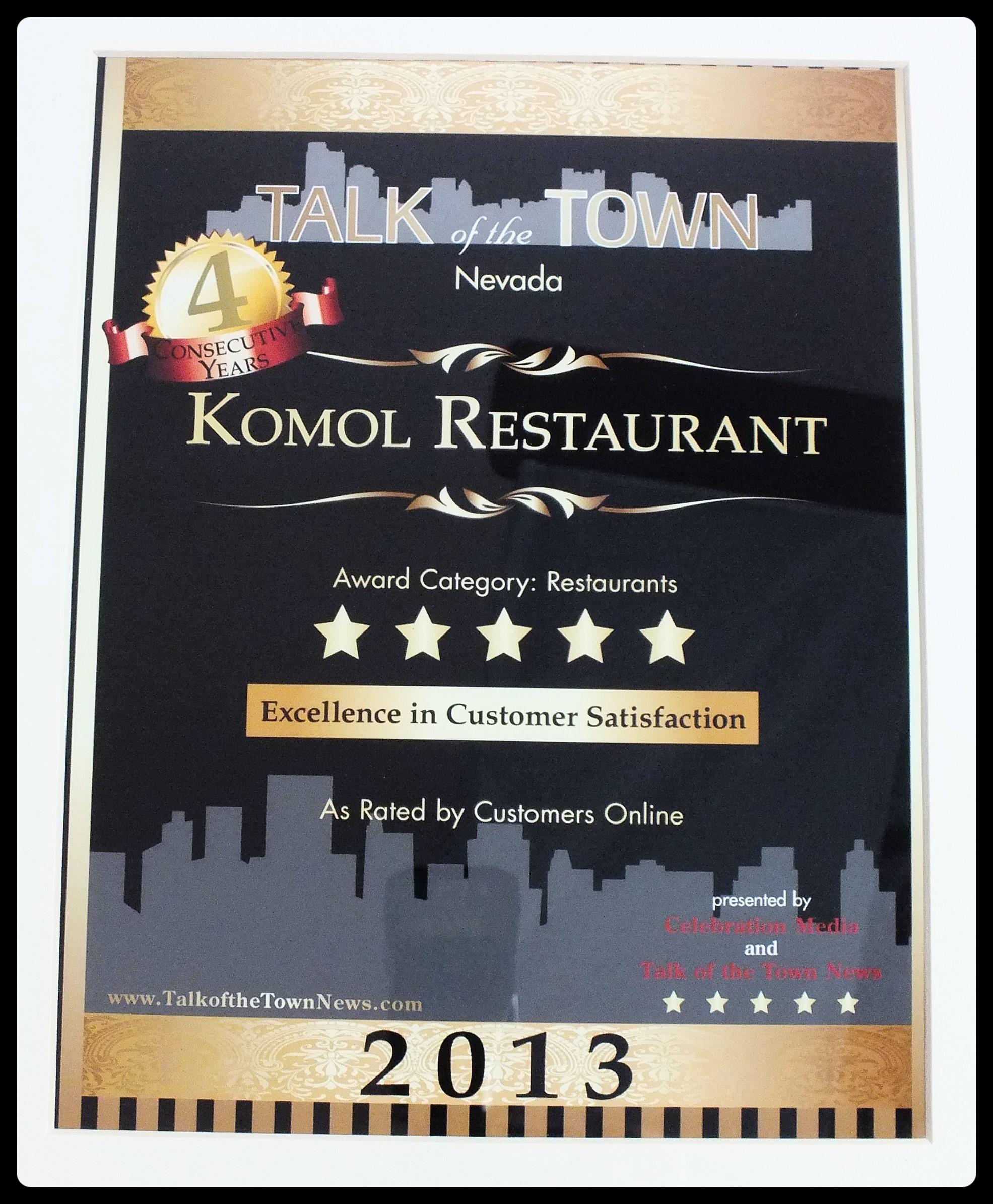 Komol Restaurant Menu