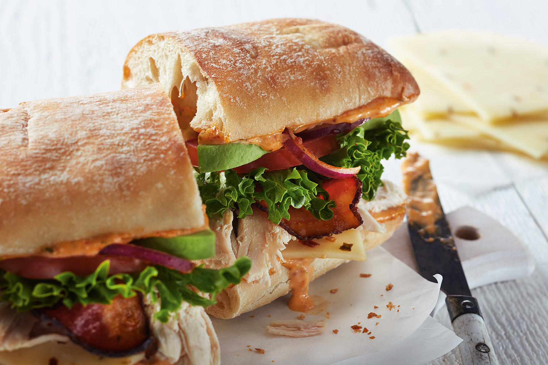 Southwest Chicken BLT on Ciabatta