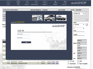 Online repair order and accounting system for automotive repair company