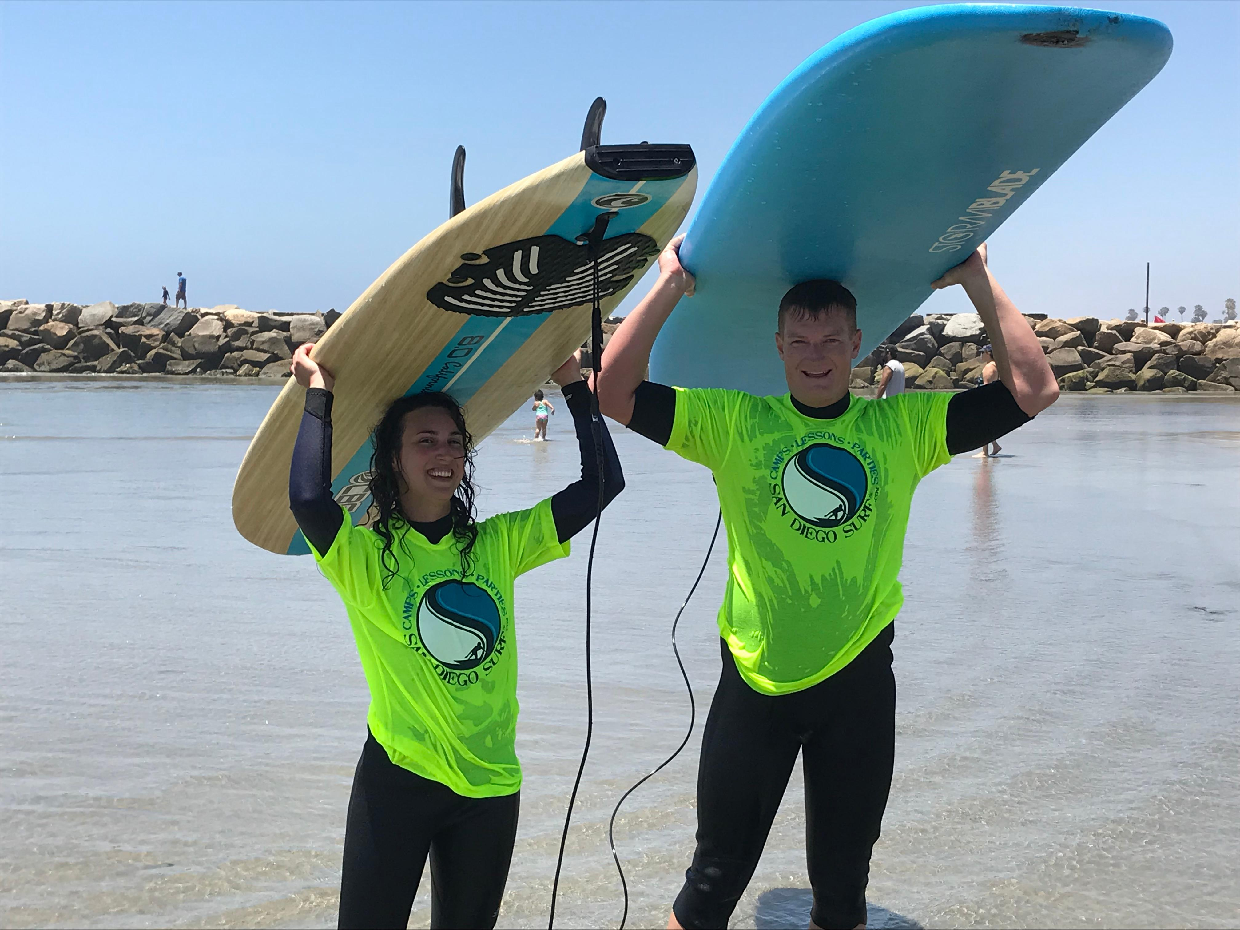 Our Honeymooners from Canada, book your fun experience at sandiegosurf.com