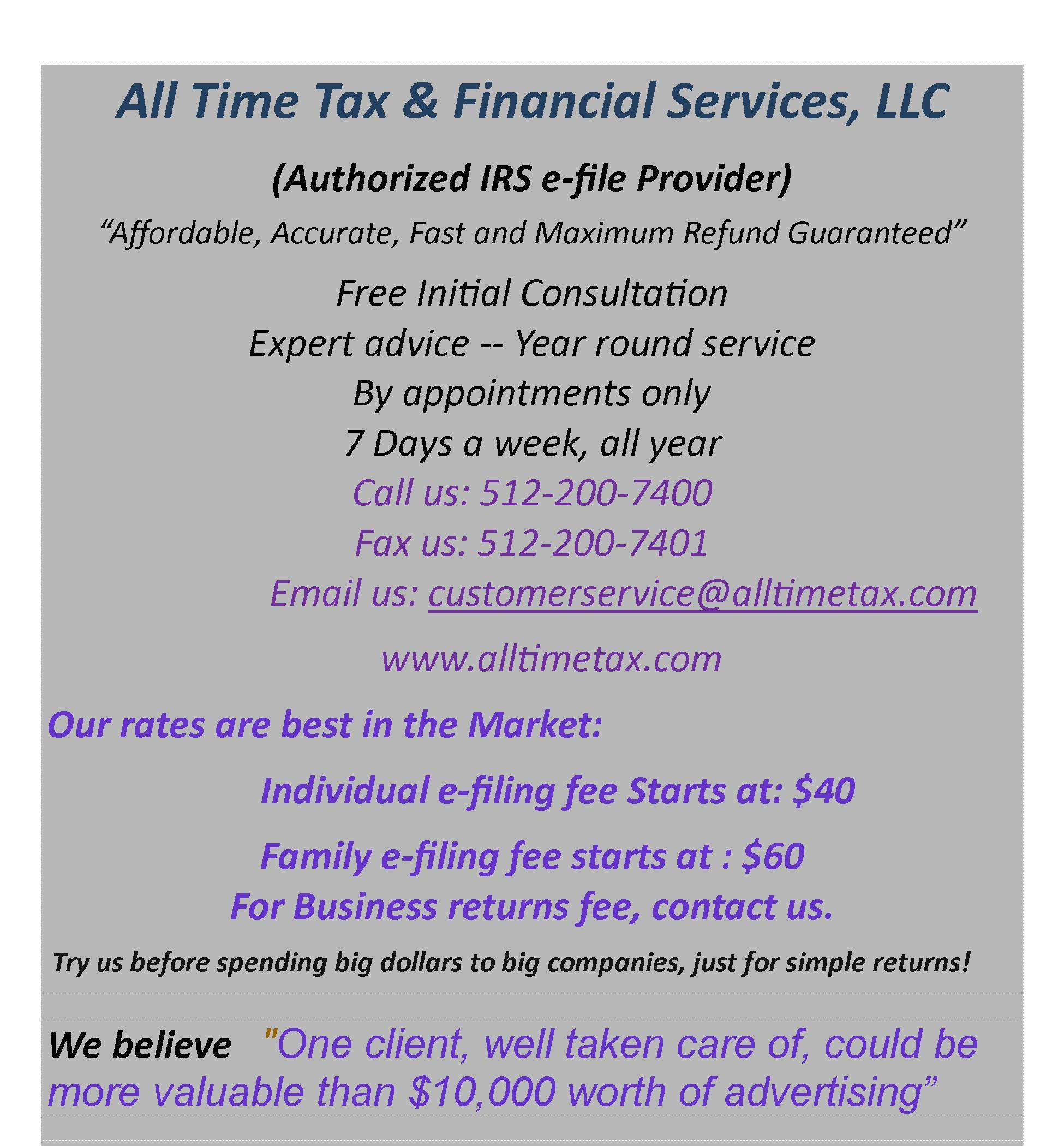Search Results For All Time Tax And Financial Services Llc In